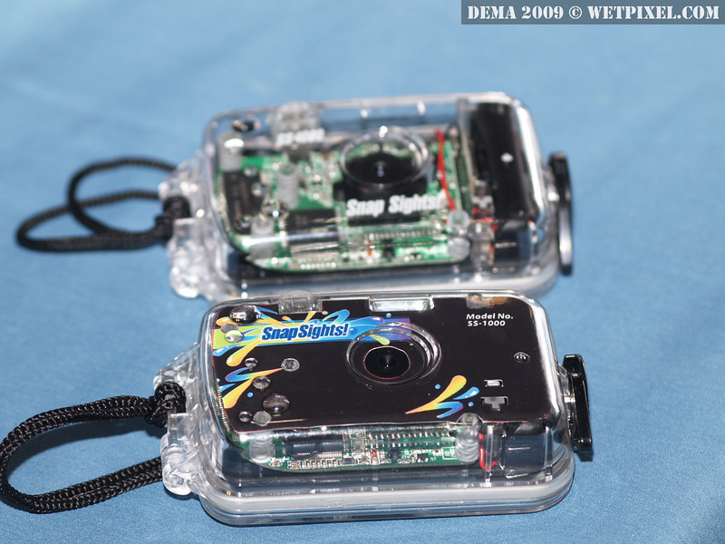 The SnapSights camera places the optics and circuit board directly into a polycarbonate shell.