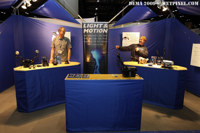 Paul Barnett goes for epic cheese at the Light & Motion booth