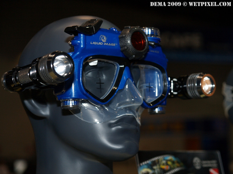 "The  new Liquid Image HD320 ""Scuba Series"" Digital Camera Mask shoots 720p video and stills, and can be fitted with accessory lighting, and has two silicone skirt sizes to fit a wider range of faces.  It is certified to 35m (115ft) depth."