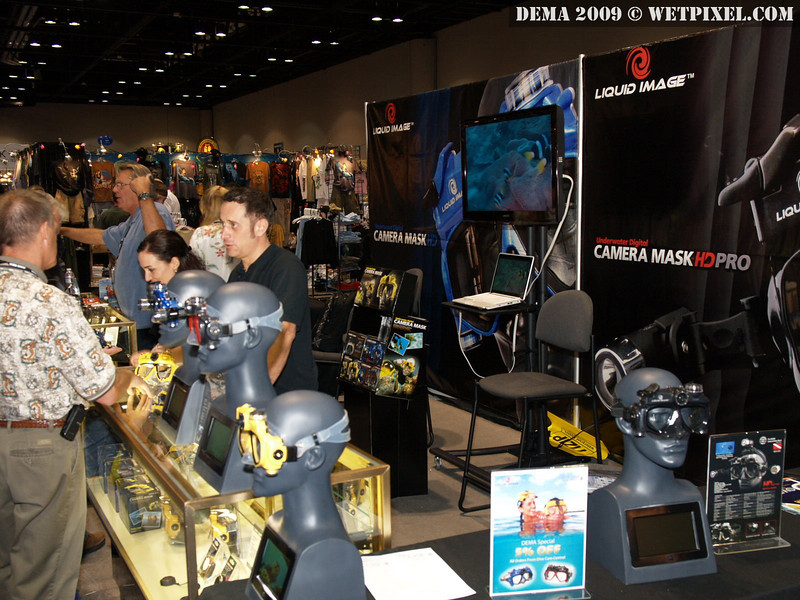 Busy times at the Liquid Image Booth, makers of the Digital Camera Mask.