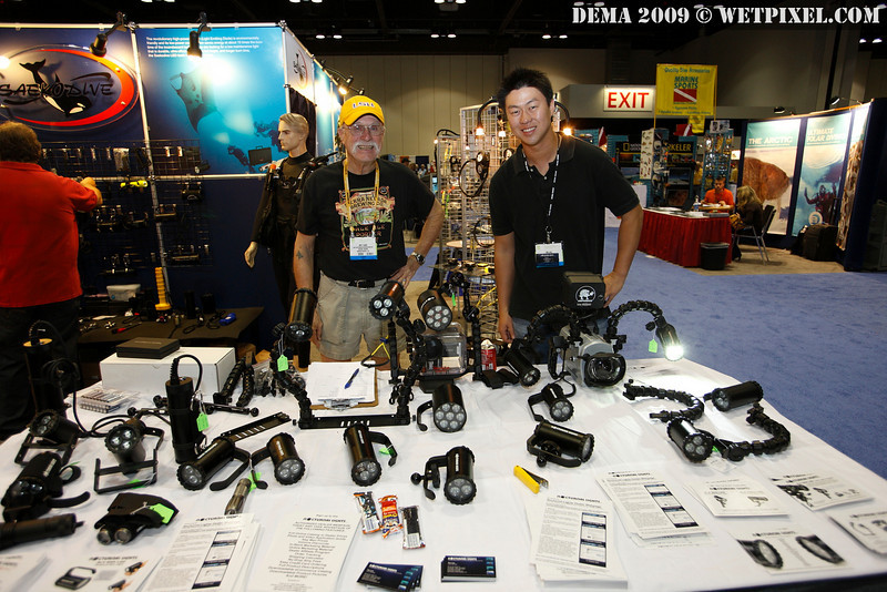 Tim Lau and Jim Flagg represent Nocturnal Lights at the Saeko Dive booth