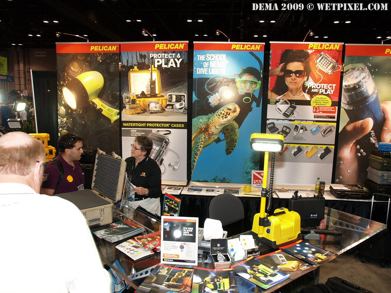Pelican, the makers of the Pelican and Storm waterproof cases, was consistently busy at DEMA 2009.