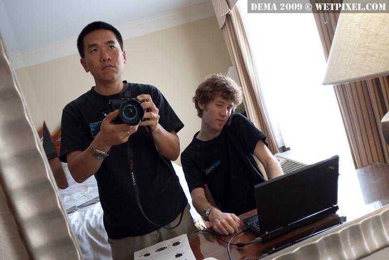 Eric Cheng and Matt Segal work hard on DEMA 2009 coverage