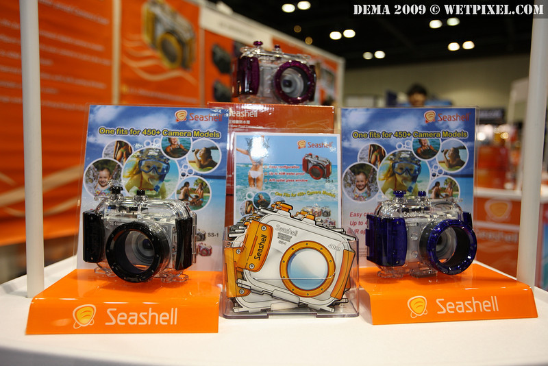 Seashell underwater housing fits over 500 models of compact camera