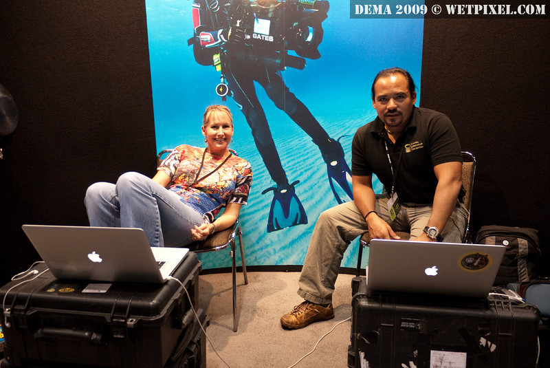David Ulloa and Dee at the UnderwaterVideography booth