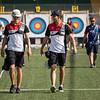 Das Bogenschießen-Team um Christoph Breitbach und Johannes Maier belegte im Recurve-Team-Wettbewerb der Universiade 2019 in Neapel den 7. Rang. 11. Juli 2019, © Arndt Falter