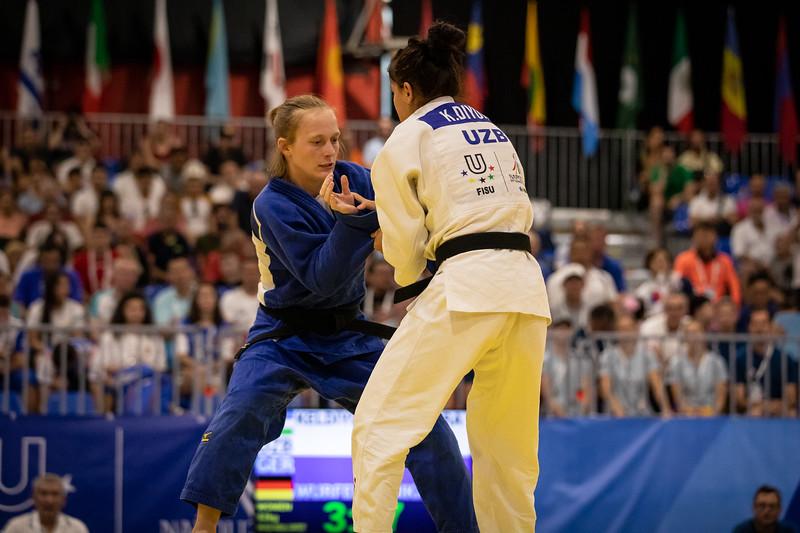 Judoka Annika Würfel verliert den Kampf um die Bronzemedaille in der Klasse bis 52kg. 6. Juli 2019, © Arndt Falter