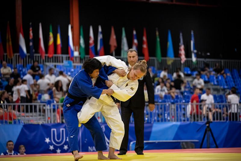 Judoka Annika Würfel verliert ihr Halbfinale in der Klasse bis 52kg, kämpft aber noch um die Bronzemedaille. 6. Juli 2019, © Arndt Falter