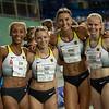 Die 4x400 Meter Staffel der Frauen zieht mit der zweitschnellsten Zeit ins Finale der Universiade 2019 in Neapel ein. 12. Juli 2019, ©Arndt Falter