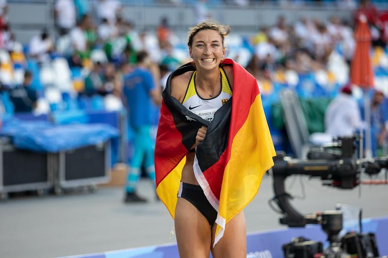 Mittelstrecklerin Christina Hering gewinnt beid er Universiade in Neapel die Silbermedaille über 800 Meter. 10. Juli 2019, © Arndt Falter