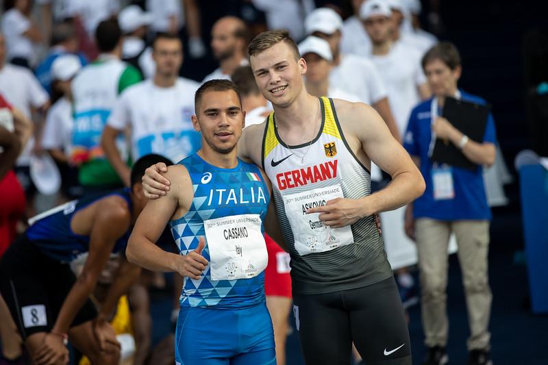 Sprinter Aleksandar Askovic scheidet mit gelaufenen 10,55 Sekunden im Halbfinale der Universiade 2019 in Neapel aus. 9. Juli 2019 © Arndt Falter