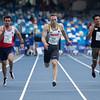 Die Sprinterinnen Jessica-Bianca Wessolly, Lisa Kwayie und Aleksandar Askovic erreichen bei der Universiade 2019 in Neapel das Halbfinale über 100 Meter. 8. Juli 2019 © Arndt Falter