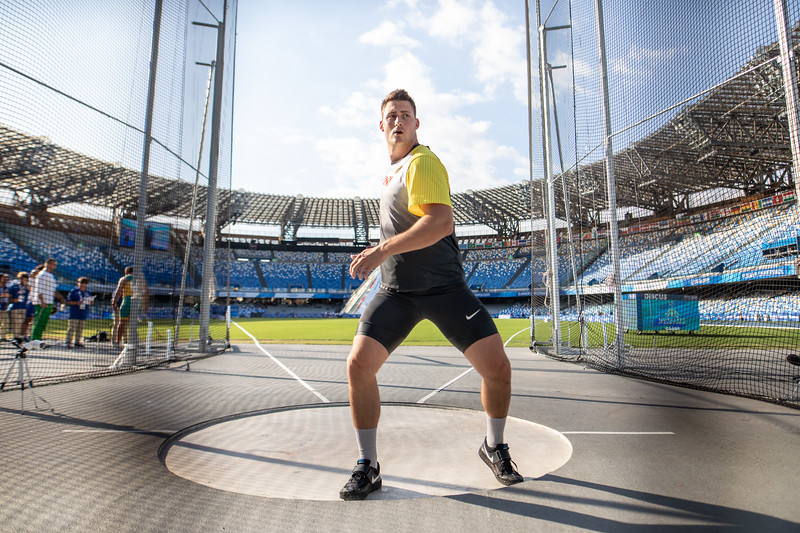 Bei der Universiade 2019 in Neapel gewinnt Henning Prüfer die Bronzemedaille im Diskuswurf. Maximilian Klaus schlägt sich mit Rang 13 unter Wert. 13. Juli 2019, © Arndt Falter