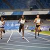 Sprinterin Lisa Kwayie gewinnt im 100-Meter-Finale der Universiade in Neapel die Bronzemedaille. 9. Juli 2019, © Arndt Falter