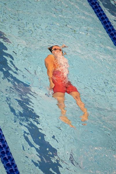 Schwimmerin Nadine Lämmler qualifiziert sich bei der Universiade 2019 in Neapel mit der achtschnellsten Zeit für das Finale über 100 Meter Rücken. 6. Juli 2019, © Arndt Falter