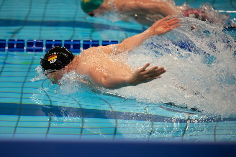 Schwimmer Felix Ziemann wird bei der Universiade 2019 in Neapel Achter über die 200 Meter Lagen. 6. Juli 2019, © Arndt Falter