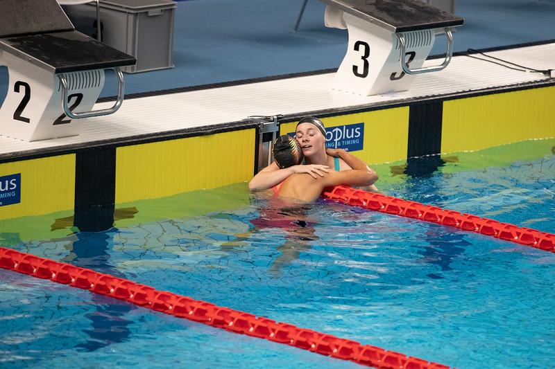 Schwimmerin Lisa Höpink gewinnt bei der Universiade 2019 in Neapel Silber über die 100 Meter Freistil. 6. Juli 2019, © Arndt Falter
