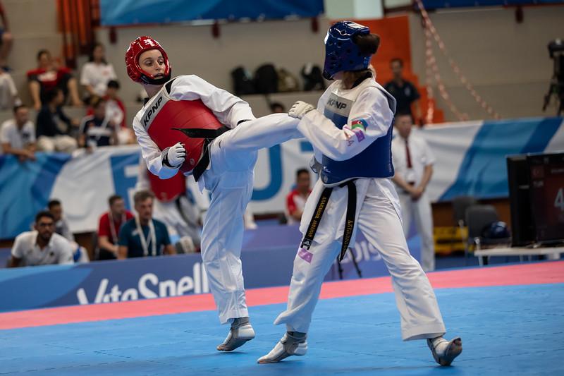 Taekwondo Madeline Folgmann verliert ihren Kampf im Viertelfinale der Klasse unter 53 Kilogramm und verpasst damit knapp eine Medaille. 12. Juli 2019, © Arndt Falter