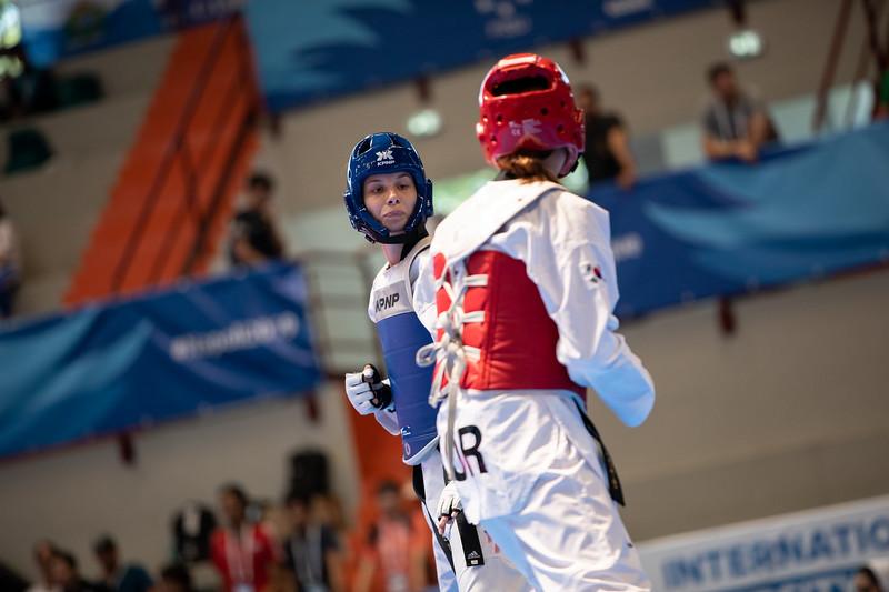 Taekwondoin Yanna Schneider schneidet im Wettbewerb der Klasse unter 62 Kilogramm im Achtelfinale hauchdünn mit 10:11 aus. 11. Juli 2019, © Arndt Falter
