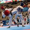 Taekwondoin Madeline Folgmann erreicht durch Sieg gegen die Ukrainierin Sobko das Viertelfinale in der Klasse unter 53 Kilogramm. 12. Juli 2019, © Arndt Falter