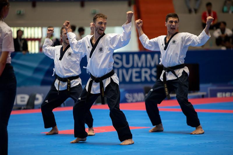 Das Taekwondo-Team wird bei der Universiade 2019 in Neapel Siebter im Poomsae-Team-Wettkampf Siebter. 8. Juli 2019, © Arndt Falter