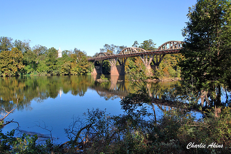 The Bibb Graves Bridge crosses the Coosa River.
