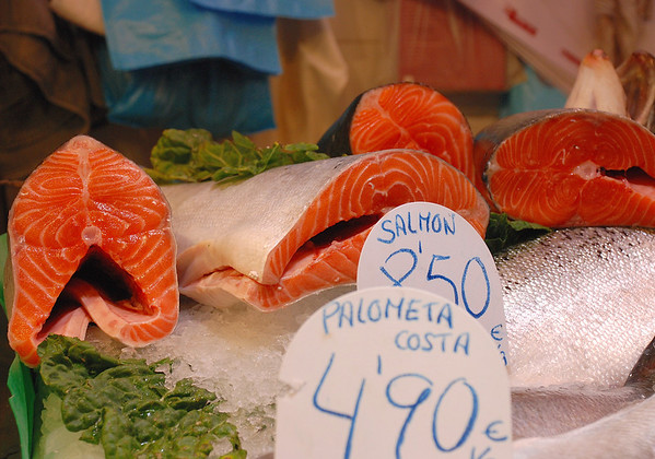 SALMON AT THE MARKET IN BARCELONA