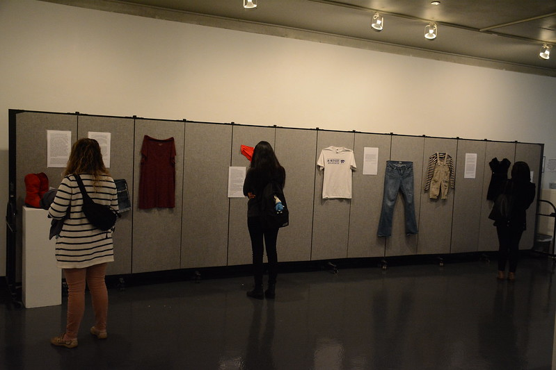 "In recognition of April being Sexual Assault Awareness Month, Union Program Council and the Center for Advocacy, Response and Education have partnered to create the ""What Were You Wearing?"" Survivor Art Exhibit from March 26 through April 6 at the William T. Kemper Art Gallery in the K-State Union. (Conrad Kabus 