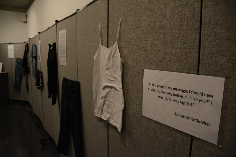 "Examples of what Manhattan area sexual assault survivors were wearing in the ""What Were You Wearing?"" Survivor Art Exhibit at the William T. Kemper Art Gallery in the K-State Union. (Conrad Kabus 