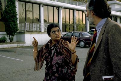 Mrs. Rajshri Gopal Speaks With a Visitor at Sri Venkateswara Temple (Pittsburgh, PA)