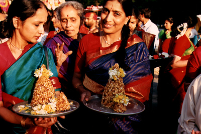 Women Present Gifts to the Gods at Sri Lakshmi Temple (Ashland, MA)