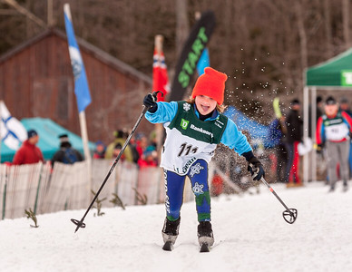 Lucy Glueck takes off at the start of the classic race at the Bill Koch League Festival in Eastern Massachusetts