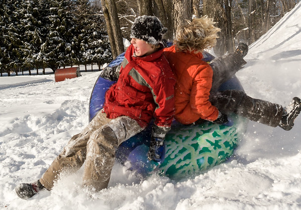 Lucas sledding with Sander McCaulay at Huntley Meadow, Winter of 2008