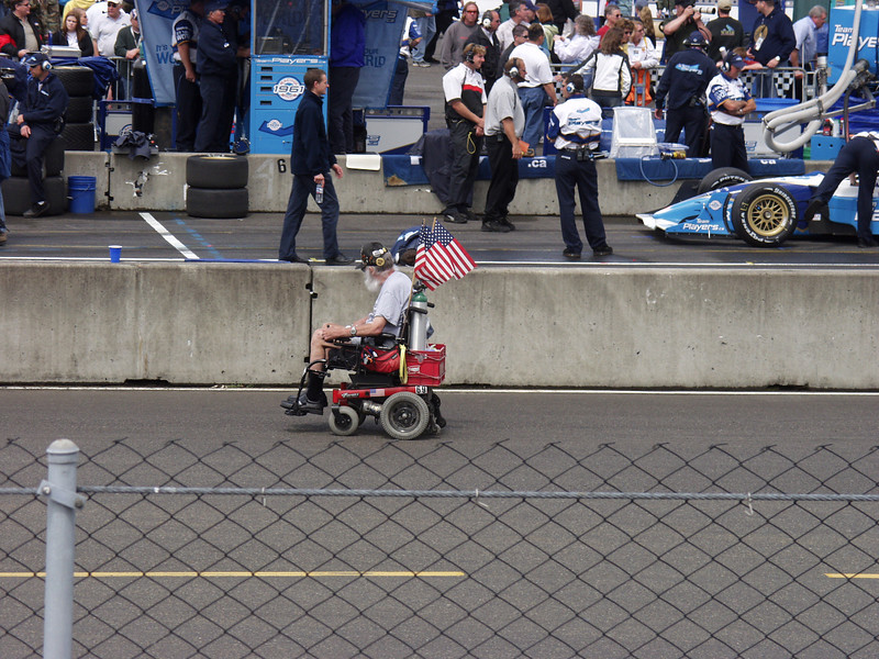 I admired this guy for his sheer determination to enjoy his favorite sport.  Or he just might be a NASCAR spy....  Shot at Portland (OR) International Raceway.