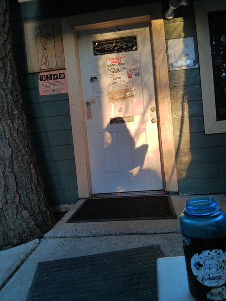 My shadow on the Whitney Portal Store door.