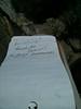 Morris Peak summit register entry.