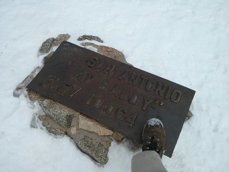 Mt. Baldy summit marker.