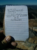 Owens Peak summit register entry.