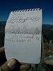 Owens Peak summit register.<br /> <br /> Looks like Mars may be retiring.