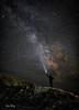 The Night Watch 3032 w74, Milky Way, astrophotography, night, flashlight, beacon, light beam, stars, planets, people, man silhouette, cliff, galaxy, long exposure,