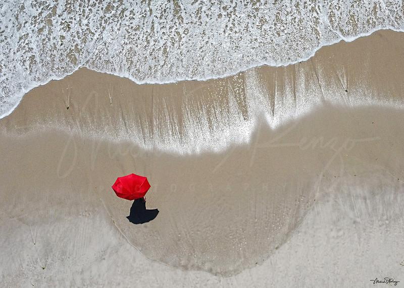 Red Umbrella on the Shore 0131 w68