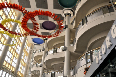 December 16, 2011  Duke Children's Hospital  Just a quick snap from inside Duke Children's Hosp. I just love the architecture of this facility - very welcoming and inviting. I tried to get some shots of the fish tank, but they didn't come out well. Son's check up went fine. :)