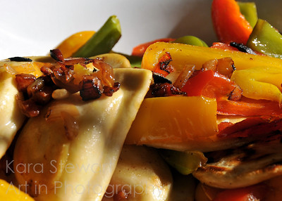 November 12, 2011  Pierogies  Potato & cheese pierogies with panchetta, shallots, and green, red & yellow peppers.  Yum!