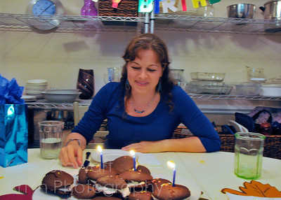 September 27, 2011  My birthday dinner with my whoopie pies 'birthday cake' made by my daughter. Photo taken by my daughter. My bday was filled with lots of love from friends and family. Truly a wonderful time.