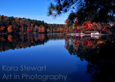 November 20, 2011  My blog:  www.karastewartaip.blogspot.com  Autumn Lake  Actually, this was taken last November, but who's telling?  I just found it and decided to process it today, although it didn't take much processing. This is at Umstead Park in Raleigh, and the colors really were that vivid.  I didn't up the saturation at all on this. I bumped up the levels very slightly and took out a bit of noise, and cropped very slightly and that's about it.  My blog this week concentrates on things I am thankful for. I hope all my American friends in the dailies have a great Thanksgiving this week - you are definitely one of the things I am thankful for.  UPDATE:  EDITOR'S PICK, betterphoto.com, November 2011, Nature & Landscapes
