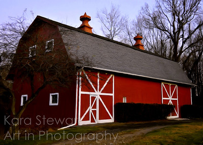 November 30, 2011  This barn is also from our walk on Thanksgiving evening. I decided it would make a good candidate to play with a painting effect. I used Corel's Painter Essentials 4 to give it a classical oil painting effect. You can't really see the effect in regular size, but you can in larger sizes.  UPDATE:  EDITOR'S PICK, betterphoto.com, November 2011, Digital Darkroom