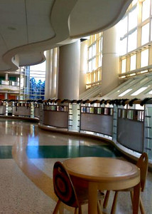 "November 16, 2011  Duke Children's Hospital  I hope you will forgive 2 posts from me today since I have been away so long! This is a shot I took about a year ago on my terrible cell phone, but I do just love the architecture of the Duke Children's Hospital - our ""home away from home"".  I took this at my daughter's appointment last December, I think, and I just love the sunlight and structure of the building. There is also a huge fish tank that I will try to get a shot of when we are there with my son next month.  Thanks for all the comments on my photos this week! I have missed your wonderful images and insights.  Not sure how much I'll be able to pop in (and out!), but I'll do my best."