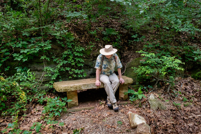 """We have been doing a lot of walking lately, mostly on the excellent network of trails in, and around Springfield, thanks to the Ozarks Greenways people. <a href=""""http://ozarkgreenways.org/explore/"""">http://ozarkgreenways.org/explore/</a><br /> <br /> Rita resting on a bench beside the Frisco Highline Trail near Walnut Grove, Missouri."""