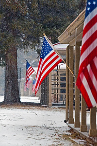Flags Officers Row Mamouth Hot Springs Park Headquarters Yellowstone NP_9269