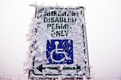 Fog Ice Handicap Parking Sign Alpowa Summit WA_9151